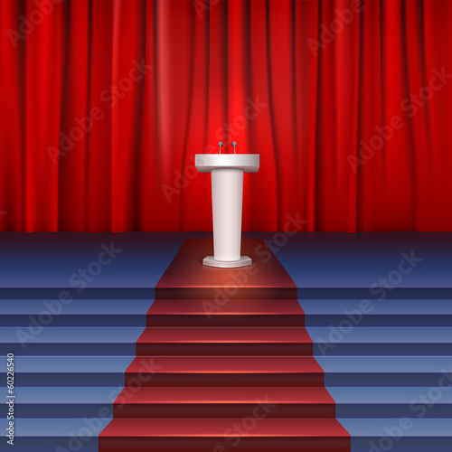 Scene with curtain, tribune and stairs covered red carpet. Place