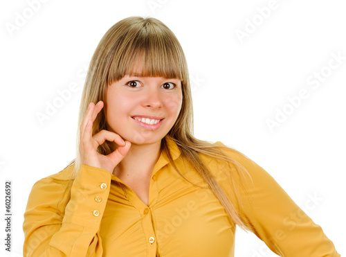young woman shows sign and symbol by hands on white background