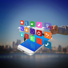 Businessman pressing colorful application icons on smartphone ,c