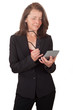 Geschäftsfrau mit Brille und Taschenrechner in der Hand