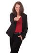 Geschäftsfrau zeigt mit dem Finger nach vorne