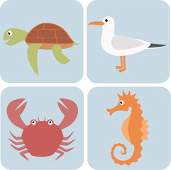 Set of simple sea animals illustrations