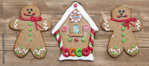 Christmas gingerbread cookies on wooden board
