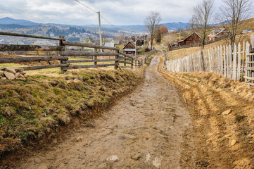 Dirty road in Carpathian village