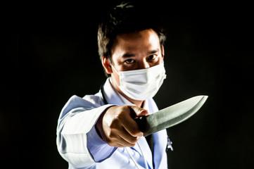 Doctor Serial Killer psychosis hold knife