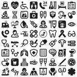 Health flat icons. Black