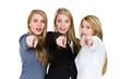 three women pointing at something