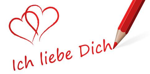 """Stift mit Text """" Ich liebe Dich """""""