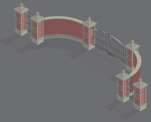 Vector isometric Gate portal