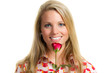 smiling young woman with rose