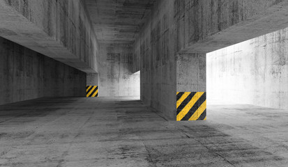 Abstract concrete urban parking interior. 3d illustration