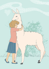 Girl and Alpaca