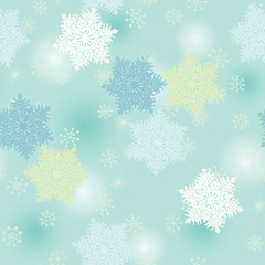 Green Seamless Snowflake Pattern
