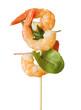 Leinwanddruck Bild - Gambas auf Spieß mit Salat