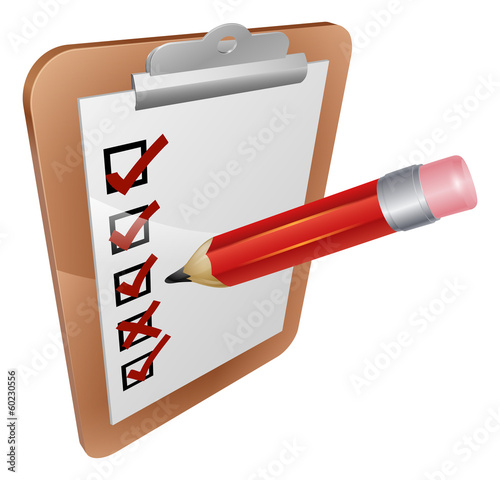 Clipboard survey and pencil icon