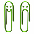 Illustration of sad and happy green paper clip