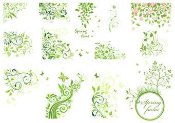 Set of spring floral design