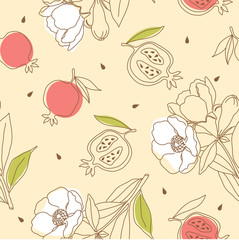 Pomegranate pattern with flower. Vector illustration