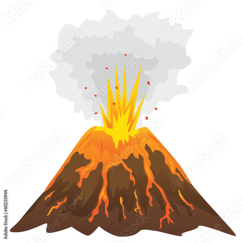 Volcano isolated on white background (vector) - 60230944