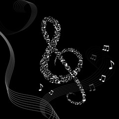 music background with treble clef and notes