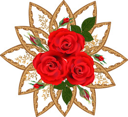 isolated brown design with three red rose flosers