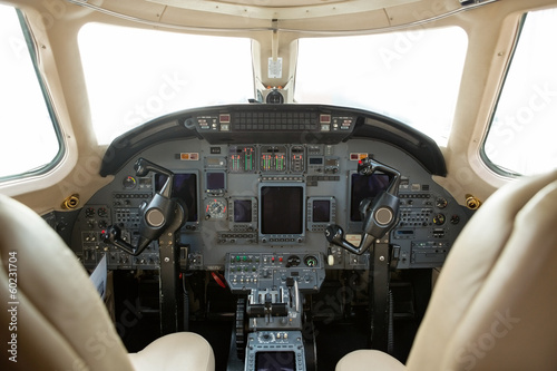 Cockpit Of A Business Jet