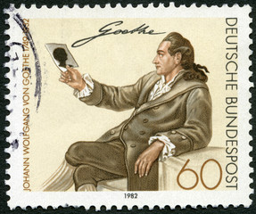 GERMANY - 1982: shows Johann Wolfgang von Goethe (1749-1832)