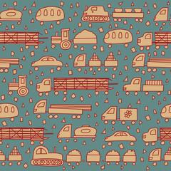 Seamless pattern with fun transport