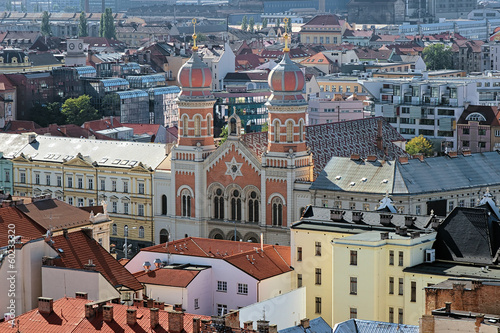 View of the Great Synagogue in Plzen, Czech Republic