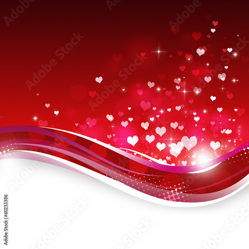 Rising Hearts on Red Background