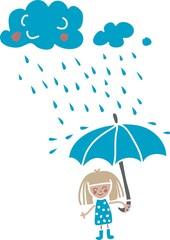 cute cartoon girl under the rain isolated on white