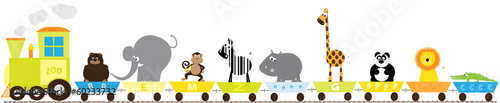 zoo train with wild animals- vector illustration for kids