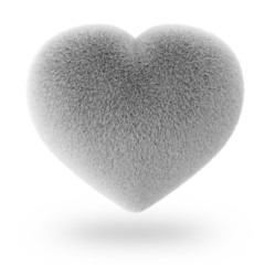 White Furry Heart isolated on white background
