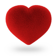 Red Furry Heart isolated on white background