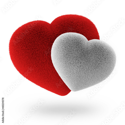 Couple White and Red Furry Hearts isolated on white background