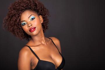 african girl wearing a bra