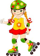The girl skates on roller-skaters.Vector illustration.