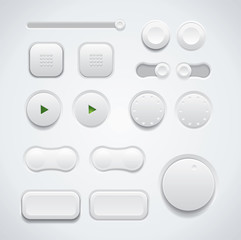 Modern UI button set including switches and push buttons