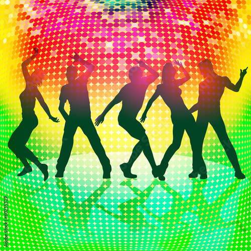 silhouettes of party people on colorful disco background