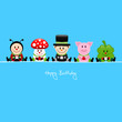 Ladybug,Fly Agaric,Chimney Sweeper,Pig & Cloverleaf Gifts Blue