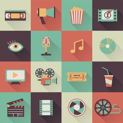set of flat cinema icons