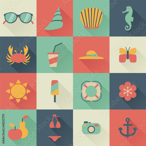 set of flat summer icons