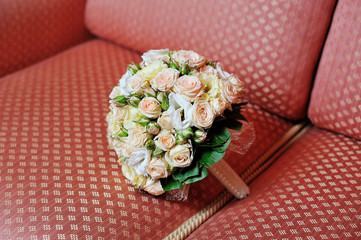 wedding bouquet on sofa