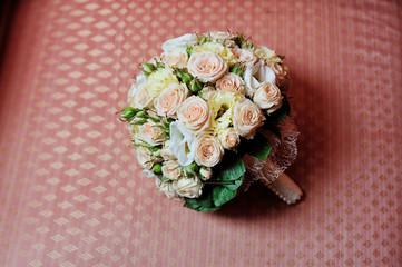 wedding bouquet on sofa