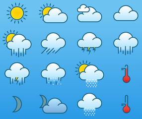 Minimalistic color weather icons