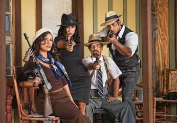 1920s Era Gangsters Aiming Guns