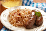 grilled bavarian sausages with sauerkraut