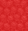 Seamless Valentine pattern with gifts and hearts