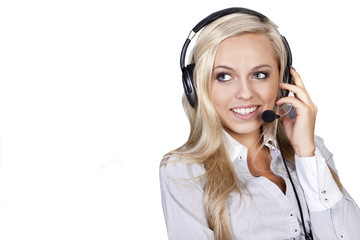 customer call center  operator with phone headset