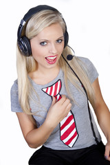 Portrait of woman customer operator with phone headset